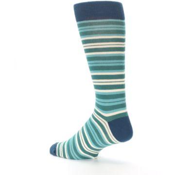 Image of Gem Green Stripe Men's Dress Socks (side-2-back-14)