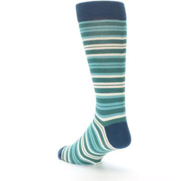 Image of Gem Green Stripe Men's Dress Socks (side-2-back-15)