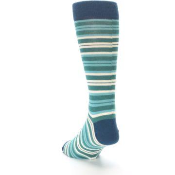Image of Gem Green Stripe Men's Dress Socks (side-2-back-16)