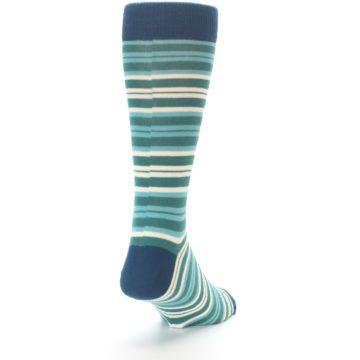 Image of Gem Green Stripe Men's Dress Socks (side-1-back-20)