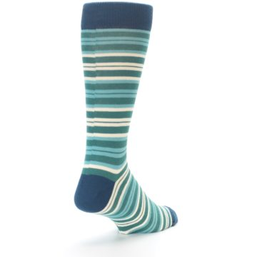 Image of Gem Green Stripe Men's Dress Socks (side-1-back-21)