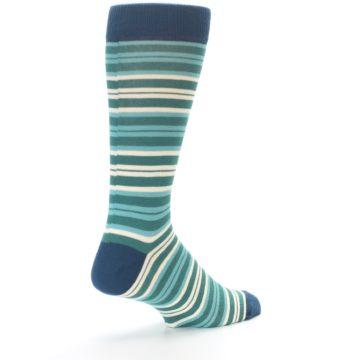 Image of Gem Green Stripe Men's Dress Socks (side-1-back-22)