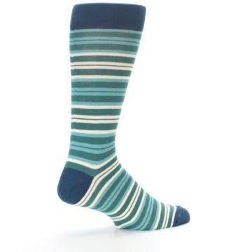 Image of Gem Green Stripe Men's Dress Socks (side-1-23)