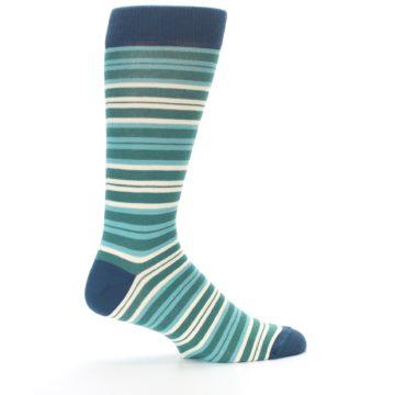 Image of Gem Green Stripe Men's Dress Socks (side-1-24)