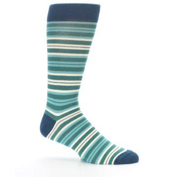 Image of Gem Green Stripe Men's Dress Socks (side-1-25)