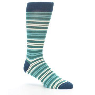 Image of Gem Green Stripe Men's Dress Socks (side-1-26)