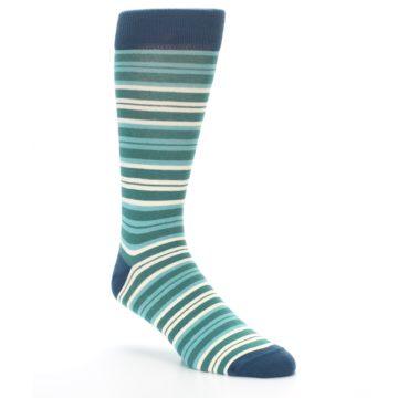 Image of Gem Green Stripe Men's Dress Socks (side-1-27)