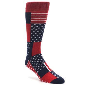 Image of Red Blue Patchwork USA Made Men's Dress Socks (side-1-front-02)