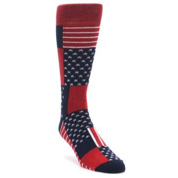 Image of Red Blue Patchwork USA Made Men's Dress Socks (side-1-front-03)