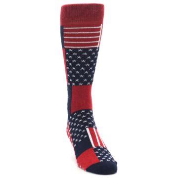 Image of Red Blue Patchwork USA Made Men's Dress Socks (front-04)
