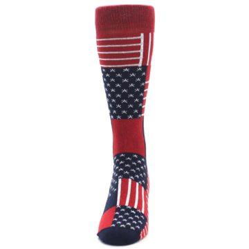 Image of Red Blue Patchwork USA Made Men's Dress Socks (side-2-front-06)