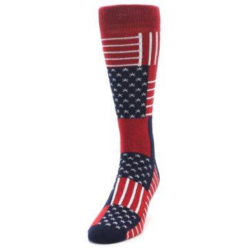 Image of Red Blue Patchwork USA Made Men's Dress Socks (side-2-front-07)