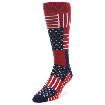 Image of Red Blue Patchwork USA Made Men's Dress Socks (side-2-front-08)