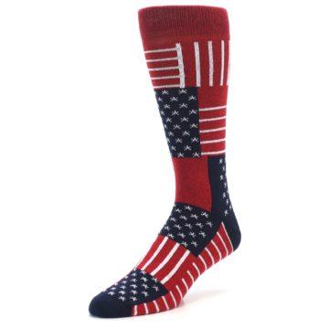 Image of Red Blue Patchwork USA Made Men's Dress Socks (side-2-09)