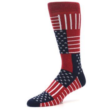Image of Red Blue Patchwork USA Made Men's Dress Socks (side-2-10)