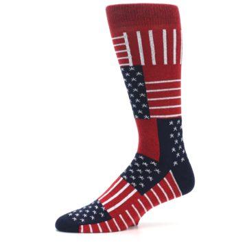 Image of Red Blue Patchwork USA Made Men's Dress Socks (side-2-11)