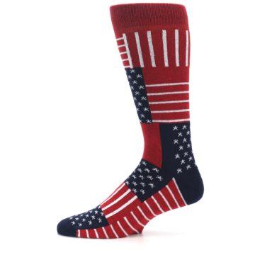 Image of Red Blue Patchwork USA Made Men's Dress Socks (side-2-12)