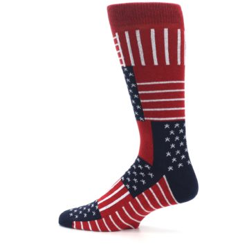 Image of Red Blue Patchwork USA Made Men's Dress Socks (side-2-13)