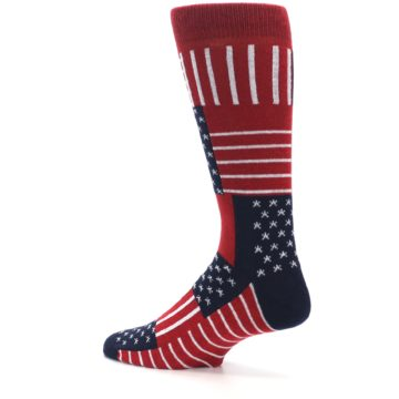 Image of Red Blue Patchwork USA Made Men's Dress Socks (side-2-back-14)