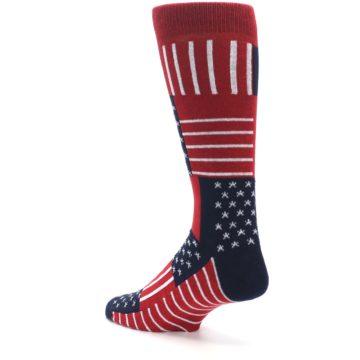Image of Red Blue Patchwork USA Made Men's Dress Socks (side-2-back-15)