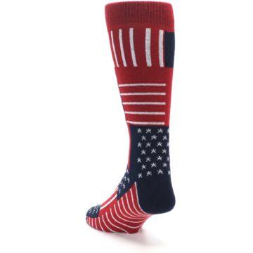 Image of Red Blue Patchwork USA Made Men's Dress Socks (side-2-back-16)