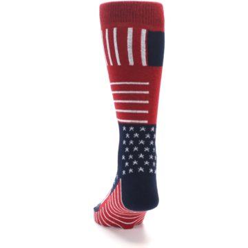Image of Red Blue Patchwork USA Made Men's Dress Socks (back-17)