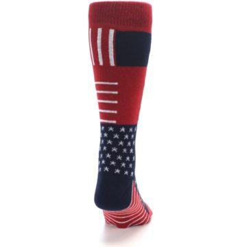 Image of Red Blue Patchwork USA Made Men's Dress Socks (back-19)