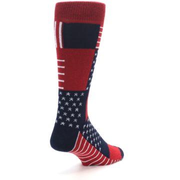 Image of Red Blue Patchwork USA Made Men's Dress Socks (side-1-back-21)