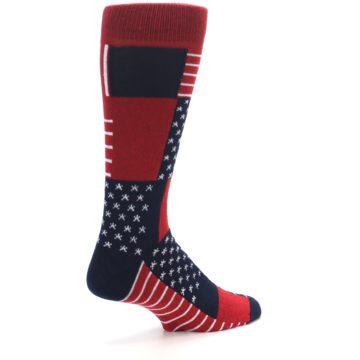 Image of Red Blue Patchwork USA Made Men's Dress Socks (side-1-back-22)