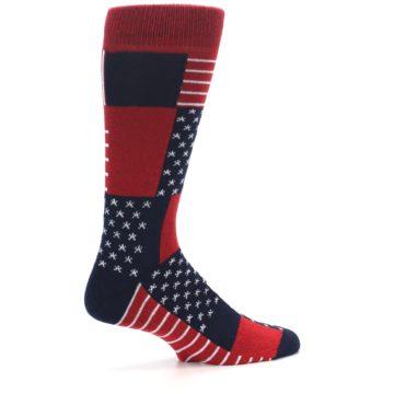 Image of Red Blue Patchwork USA Made Men's Dress Socks (side-1-23)