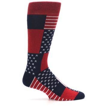 Image of Red Blue Patchwork USA Made Men's Dress Socks (side-1-24)
