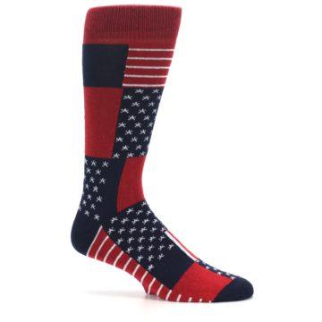 Image of Red Blue Patchwork USA Made Men's Dress Socks (side-1-25)