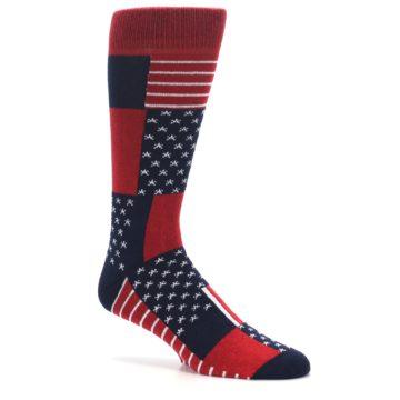 Image of Red Blue Patchwork USA Made Men's Dress Socks (side-1-26)