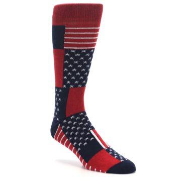 Image of Red Blue Patchwork USA Made Men's Dress Socks (side-1-27)