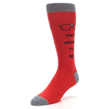 Image of Red Talk Nerdy to Me Men's Dress Socks (side-2-front-08)
