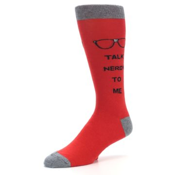 Image of Red Talk Nerdy to Me Men's Dress Socks (side-2-09)