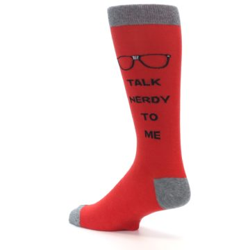 Image of Red Talk Nerdy to Me Men's Dress Socks (side-2-back-14)