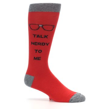 Image of Red Talk Nerdy to Me Men's Dress Socks (side-1-25)