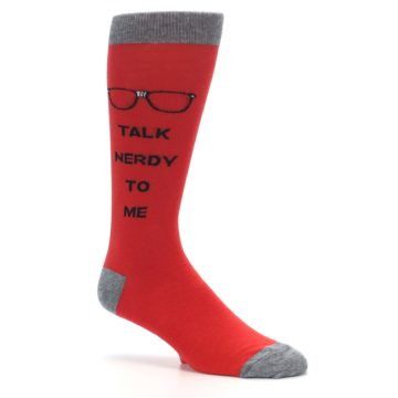 Image of Red Talk Nerdy to Me Men's Dress Socks (side-1-26)