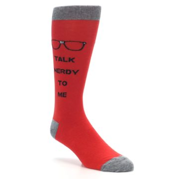 Image of Red Talk Nerdy to Me Men's Dress Socks (side-1-27)
