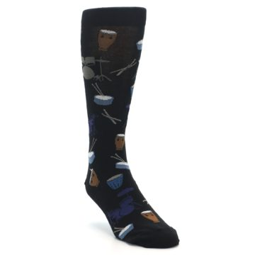 Image of Black Blue Percussion Drums Men's Dress Socks (side-1-front-02)