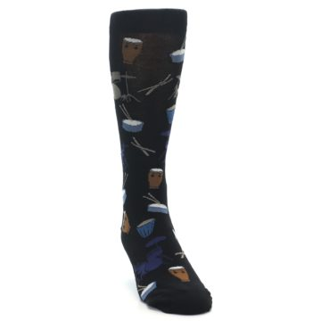 Image of Black Blue Percussion Drums Men's Dress Socks (side-1-front-03)