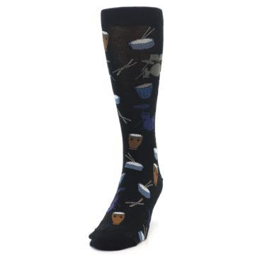 Image of Black Blue Percussion Drums Men's Dress Socks (side-2-front-06)