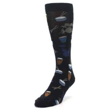 Image of Black Blue Percussion Drums Men's Dress Socks (side-2-front-07)