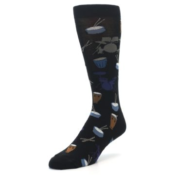 Image of Black Blue Percussion Drums Men's Dress Socks (side-2-front-08)
