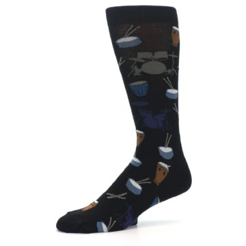 Image of Black Blue Percussion Drums Men's Dress Socks (side-2-10)