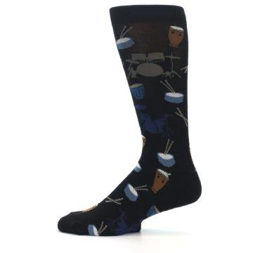 Image of Black Blue Percussion Drums Men's Dress Socks (side-2-12)