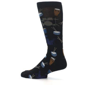 Image of Black Blue Percussion Drums Men's Dress Socks (side-2-13)