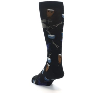 Image of Black Blue Percussion Drums Men's Dress Socks (side-2-back-16)