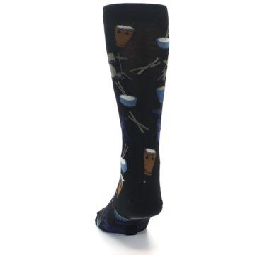 Image of Black Blue Percussion Drums Men's Dress Socks (back-17)
